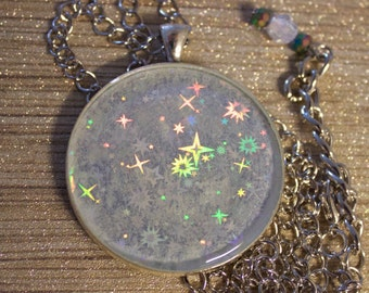 Hologram pendant etsy glow in the dark holographic star patterned handmade pendant necklace sealed in clear resin mozeypictures Images