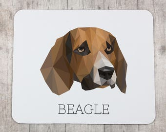 A computer mouse pad with a Beagle dog. A new collection with the geometric dog