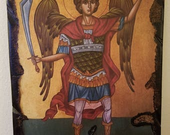 Archangelos Michael o Panormitis. Handmade wooden, craft, antiquated icon.