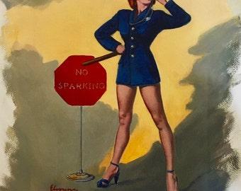 80% Off SALE! ELVGREN - No Parking No Sparking Original Painting 16X20 Rare Pinup Vancas of POLICE Woman Cop Pin-up exposes Legs, High Heels