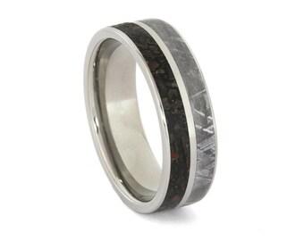 Meteorite Wedding Band, Dinosaur Bone Ring With Titanium, Custom Ring