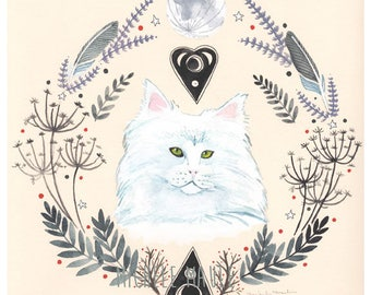 Cat Art - Cat Print - Witch Cat - Cat Illustration - Feline Familiar - Witch Art - White Cat Witch  - Luna