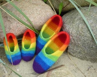 Felt shoes Gr. 45/46 Rainbow
