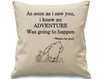 Natural canvas 8oz cushion cover large 45cm x 45cm winnie the pooh quote personalsied any name