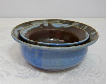Nesting Bowls- Handmade Porcelain - Cinnamon and Opal Blue - Cereal, Salad, Soup Bowls