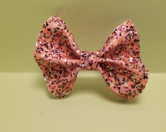 Orange and Black Sparkly Faux Leather Hair Bow