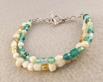 Teal Bracelet - White Beaded Bracelet - Two Strand Bracelet - Copper Glass Beads Bracelet - Stackable Bracelet - Blue and White Bracelet