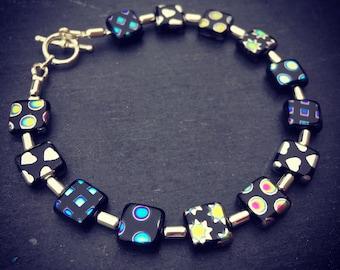 Vacuum plated czech glass beaded bracelet, square beaded bracelet, silver plated