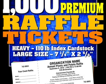 1,000 Premium Raffle Tickets, Customised, Perforated and Numbered