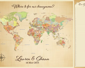 World map poster etsy map guest book alternative wedding guest book map travel themed wedding map guest gumiabroncs Images