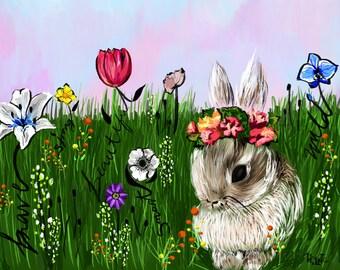 Word Garden Bunny/bunny/art/print/digital art/garden/flowers/words/flower crown/digital download art