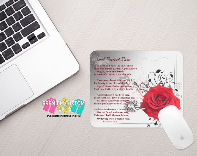 A Perfect Rose Poem Mouse Pad - Custom Mouse Pad - Personalized Mouse Pad - Office Gift - Personalized Gift - Valentine's Day Gift