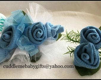 Baby Sock Corsage-Baby Shower-Baby Sock Corsage and Boutonniere-Baby Shower Decor-Baby Boy Shower Corsage-Baby Shower Favor-Shower Corsage