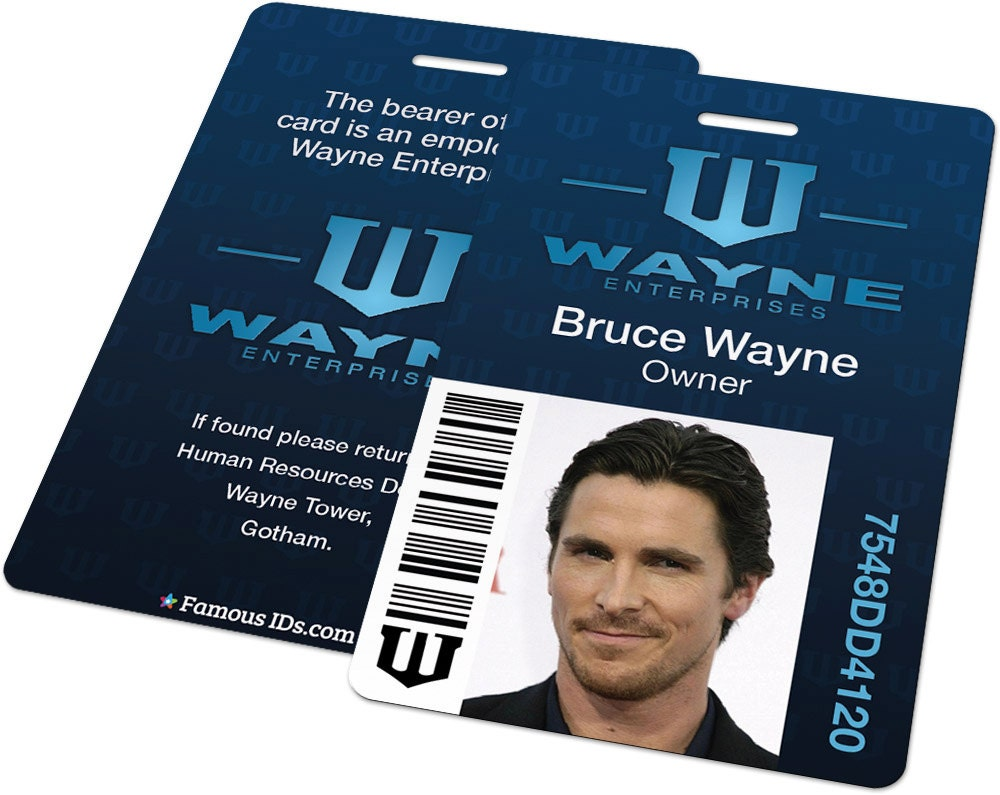 Custom ID Card Badge Wayne Enterprises Batman Bruce Wayne - Custom id badges