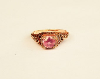 """Pink  Sapphire Rose Gold """"Love"""" Engagement Ring"""