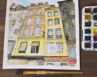 Original City Watercolor Street Watercolor Urban Painting Buildings Watercolor Honfleur France Watercolor France Art Colorful Buildings Art