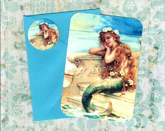 Note Cards, Mermaid, Note Card Set, Stickers, Mermaid Cards, Gift