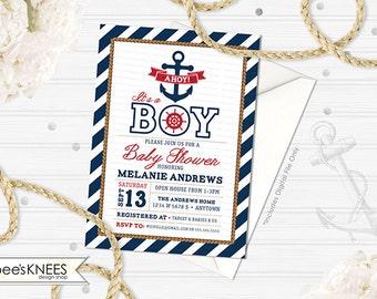 Nautical Baby Shower Invitation Printable Anchor Boy