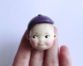 Kewpie in a Beret Handmade Pin Brooch