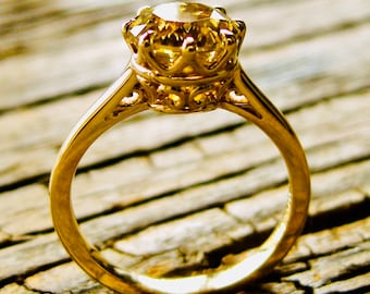 Yellow Chrysoberyl Engagement Ring in 14K Yellow Gold with 8 Prong Basket and Scroll Work Size 6