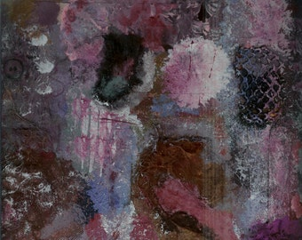 Sinking Down Cake Brain - One of a Kind Original Painting, Mixed Media, Textural Hybrid - Different Colors and Textures