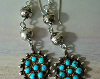 Navajo Turquoise Sterling Bench Bead Earrings