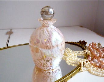 Waldonia pink and white iridescent / opalescent perfume bottle