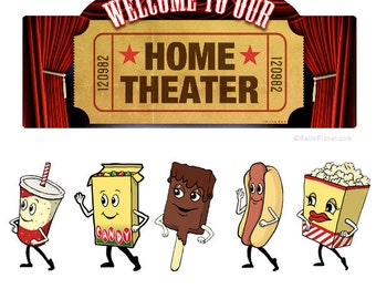 Home Theater Welcome Snacks Wall Decal Set #40829