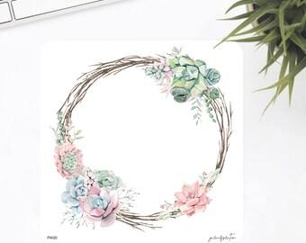 FW20 | Wreath Sticker | Decorative Sticker | Watercolor Sticker | Succulent Sticker | Planner Stickers | Bullet Journal Stickers