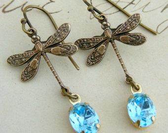Vintage Earrings - Art Deco Earrings - Dragonfly Earrings  - Blue Rhinestone Earrings - Brass Earrings - Handmade Jewelry
