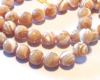 Cafe Au Lait Coffee and Cream Mother-of-Pearl Beads 2-Strand Lot Round Faceted 9 1/2mm