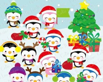 Christmas clipart, Christmas Penguins (CG095) , Cute penguin clip art for chritmas, digital images