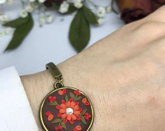 Polymer Clay Applique Statement Bracelet, Gift for her,Polymer Clay Jewelry Fashion