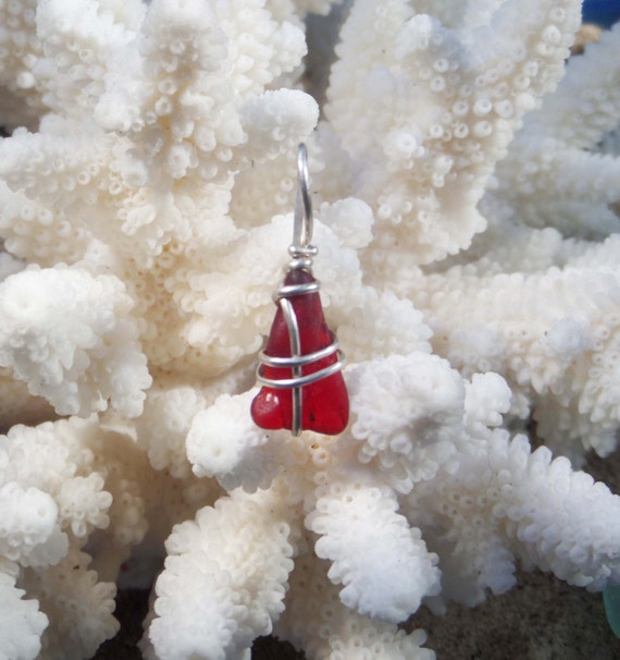 Red Sea Glass Jewelry Valentine's Day Gift - Red English Sea Glass - Sterling Silver Jewelry - Beach Wedding - Anniversary Gift
