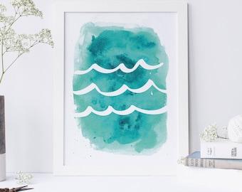 Turquoise Art, Nursery Decor, Ocean Artwork, Ocean Waves Blue, Aqua Print, Wave Artwork, Wall Decor, Aqua Waves Watercolor, Waves Nursery