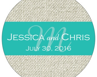 140 - 1.75 inch Glossy Personalized Burlap Wedding Stickers - hundreds of designs to choose from WR-199