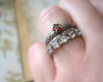 Promise Ring Engagement Ring Garnet Square Cut Princess Sterling Silver