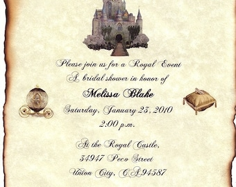 qty 50 Cinderella FairyTale Ancient Castle Quinceanera Invitation Scrolls and RSVP Cards
