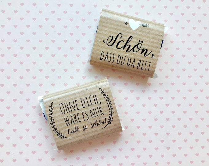 Guest gift for wedding 50 chocolate bands kraft paper for small chocolates