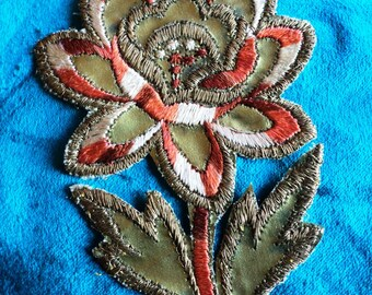 1920s Metallic Gold Silk Embroidered Floral Applique Art Deco Dress Trim Vintage Milinery Lampshades
