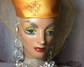 Gold Satin Voguemont  Pillbox Hat