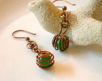 Earrings - Green Beads, Copper Spiral Cages