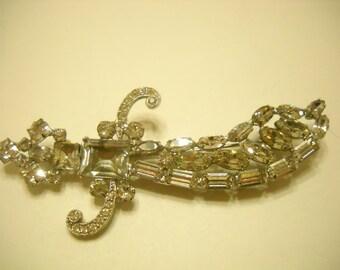 Vintage 1950s Joseph Wiesner, NY, Gorgeous Rhinestone Moorish Sword (5385)