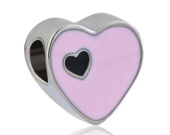 Bead pandora charms, European, heart, pink, enamel, 12 * 12 * 7 mm