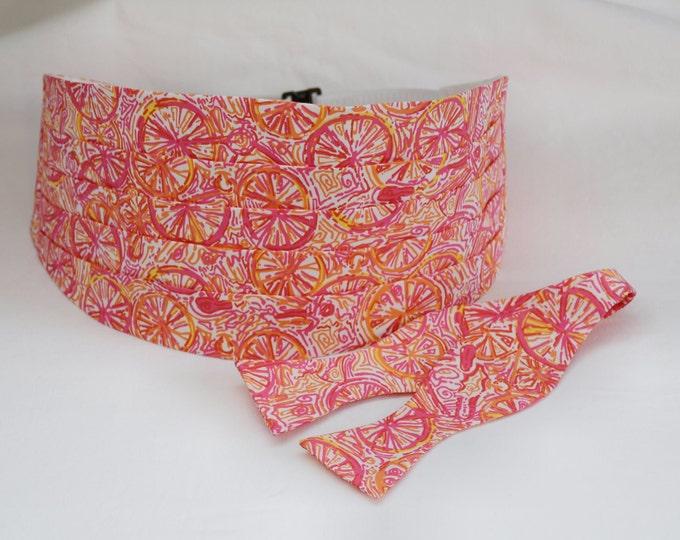 Cummerbund & Bow Tie, hot pink/orange, Ten Speed Lilly bicycle print, formal wedding attire, stylish prom cummerbund, tuxedo accessory,