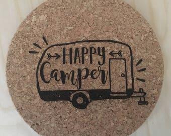 Camper Trivet, Camper Hotplate, Cork Trivet, Hotplate, Cork Hotplate, Cork Board, Round Hotplate, Hot Pad, Hotplate Trivet, Housewarming