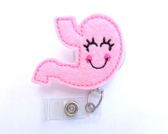 Retractable badge holder - Smiley Stomach - light pink felt stomach badge reel - gastroenterologist gastroenterology nurse doctor