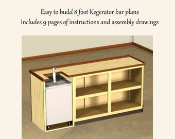 Easy Plans to Build an 8 foot Home Wet Bar. Model S2WB