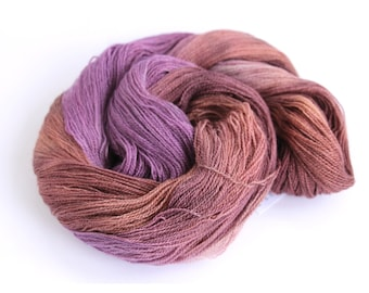 Handdyed lace yarn, BFL silk laceweight hand dyed Perran Yarns Plum Crumble, purple brown bluefaced leicester variegated wool skein, uk
