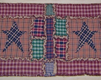 """Rag Quilt Table Runner ~ 16"""" x 37"""" ~ Country Primitive Homespun ~ Country Cottage ~ Handmade ~ One-of-a-Kind ~ Best Selling Item"""